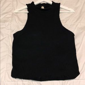 Slightly open back black top
